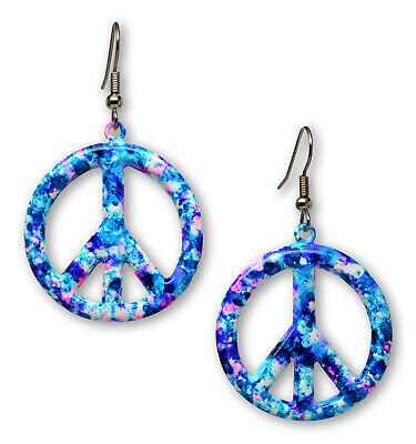 Purple Blue Hippie Tie Dye Peace Sign Enamel on Pewter Dangle Earrings #835TDP