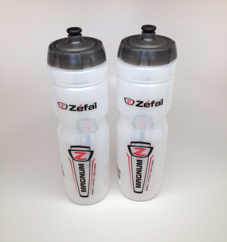 2-PACK ZEFAL MAGNUM BIKE BICYCLE CLEAR WATER BOTTLES 33oz. NEW