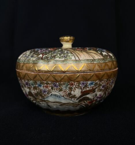 Japanese Antique Satsuma Ware Kashiki Dessert Bowl (b719)ネサ