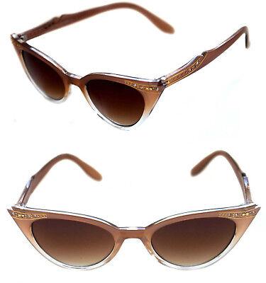 50s Cat Eye Sunglasses (Womens small Cat Eye Vintage Sunglasses Brown Bronze Clear Frame Rhinestones)