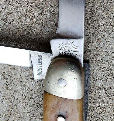 Antique German Eye Brand Knife 3 Blade Rustless Stag