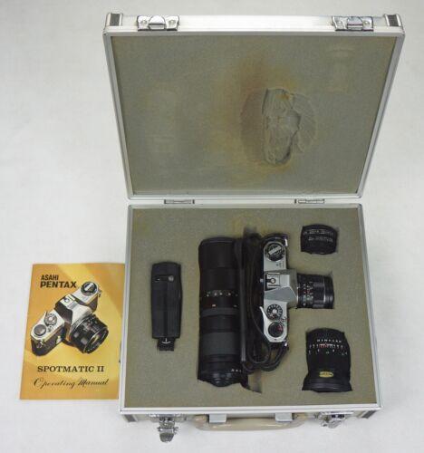 Asahi Pentax Silver Spotmatic SP II 35mm SLR Camera with accessories