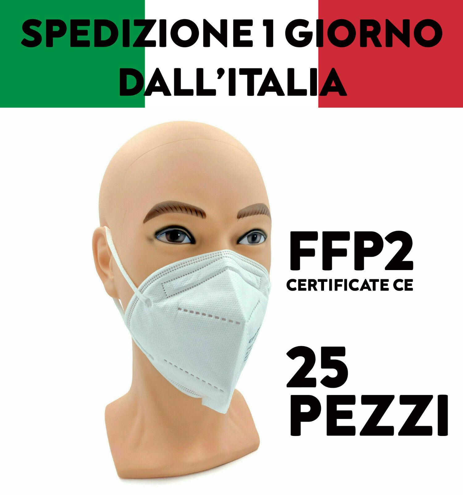 25 MASCHERINE FFP2 PROTETTIVE CERTIFICATE CE 2163 FILTRANTI MONOUSO MASCHERE