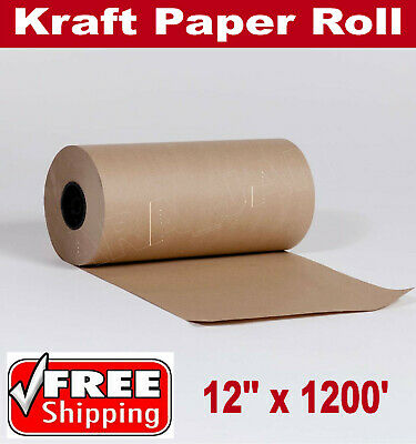 12 X 1200 Brown Kraft Paper Roll 30lb Shipping Wrapping Cushioning Void Fill