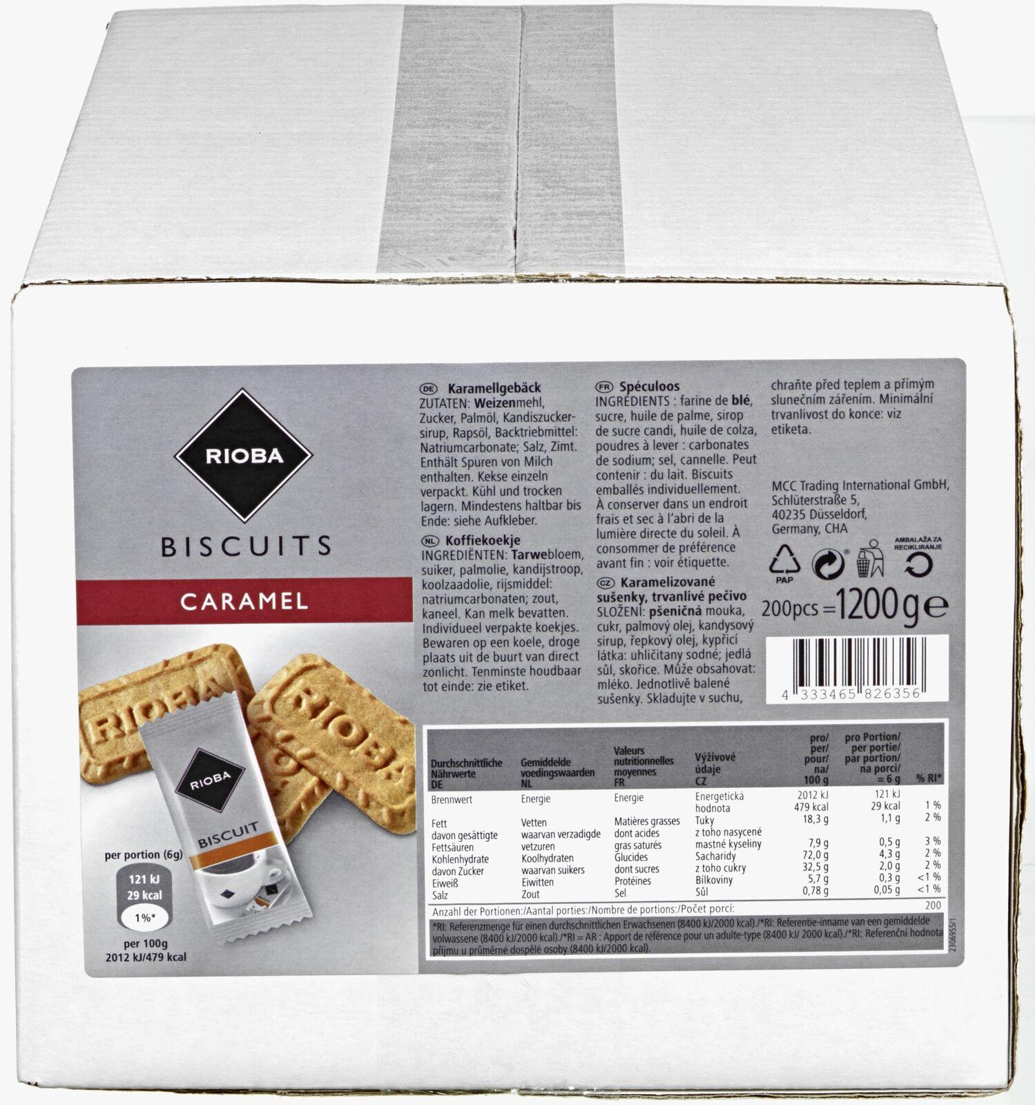 (1000g=6,66€) Rioba Karamellgebäck Kekse Gebäck - 200 Stück einzeln verpackt