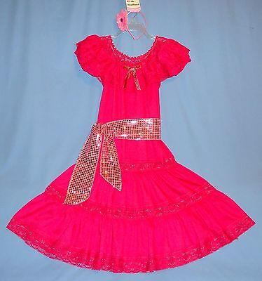 Mexican dress-women's 8-10-Cinco de Mayo costume-Folkloric-hair flower,sash;LOT ](Cinco De Mayo Costumes For Women)