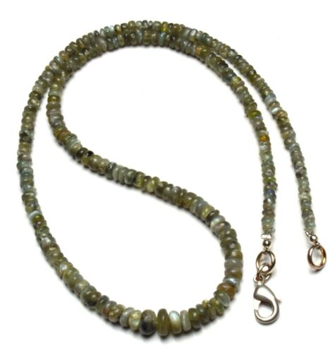 """Natural Gem Chrysoberyl Cats Eye Smooth 3 to 7MM Rondelle Beads Necklace 16"""""""
