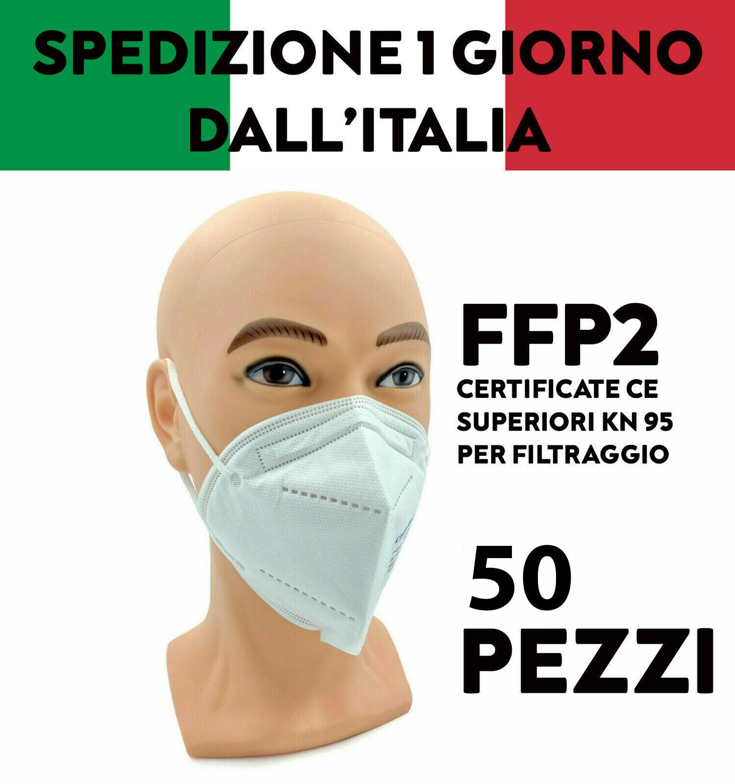50X MASCHERINE PROTETTIVE FFP2 CERTIFICATA CE INAIL SENZA VALVOLA MASCHERINA 216