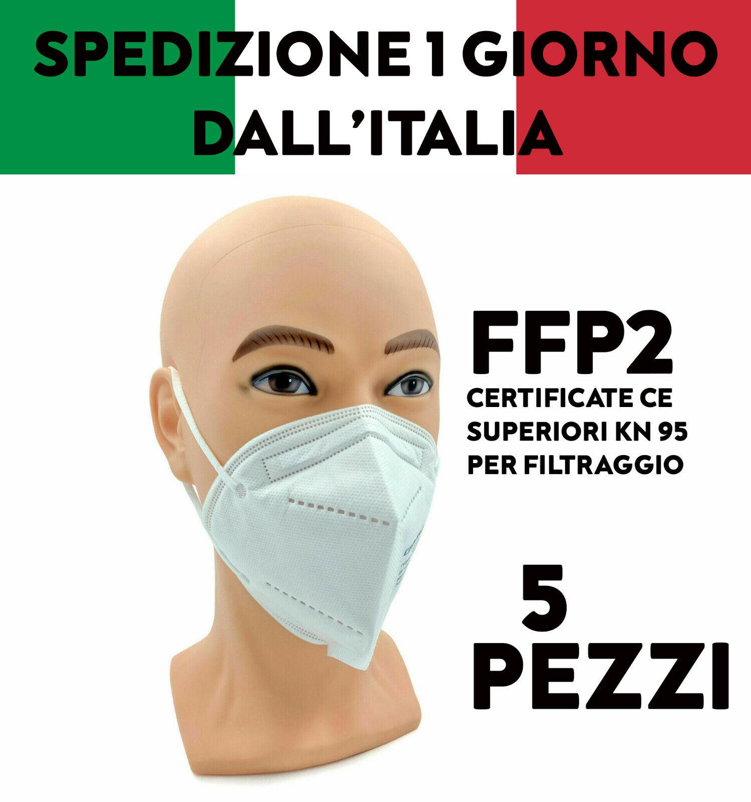5 MASCHERINE FFP2 MASCHERE FACCIALI FILTRANTI CERTIFICATE CE PROTETTIVE MONOUSO
