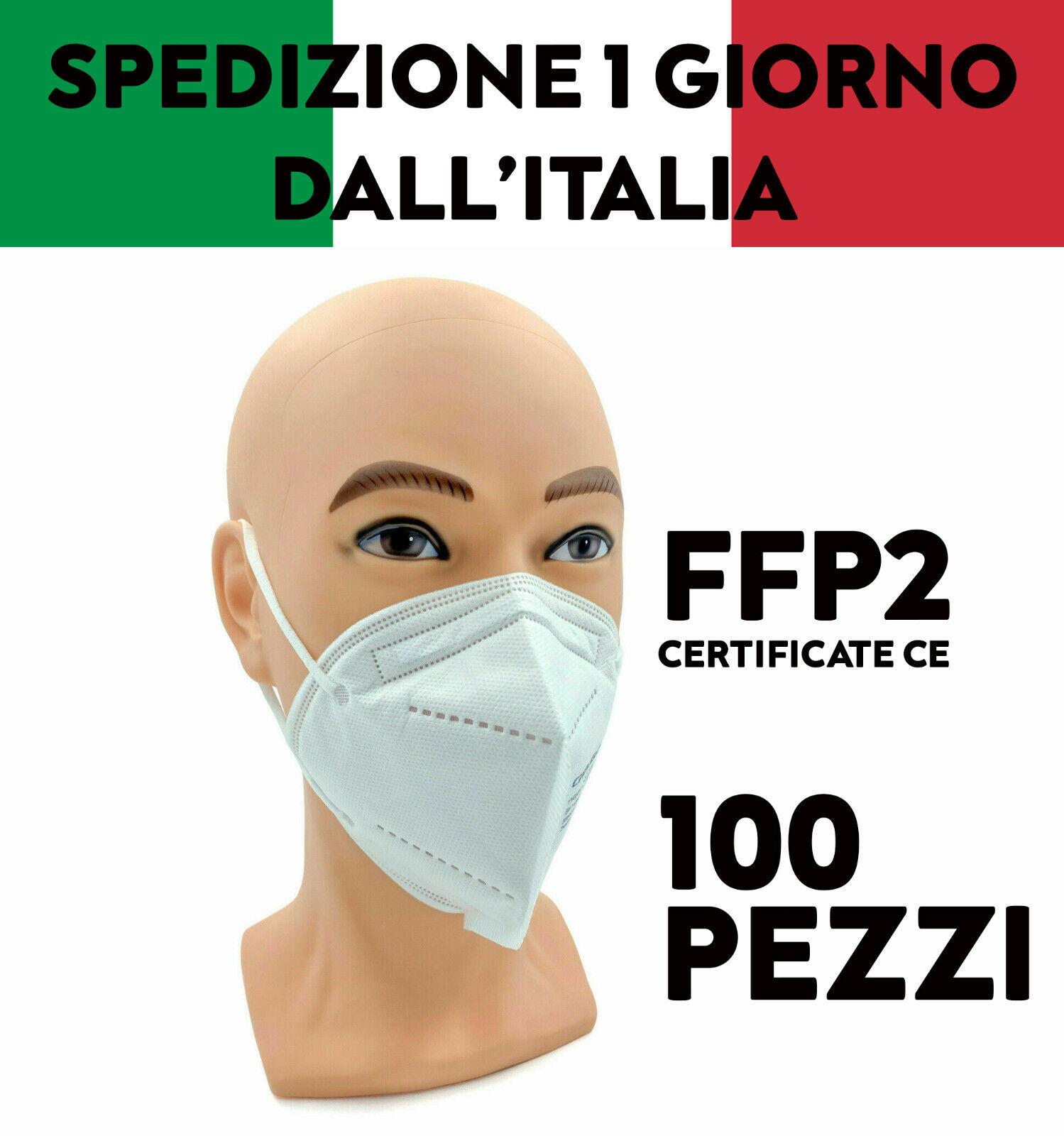 100 MASCHERE MASCHERINE FFP2 PROTETTIVE CERTIFICATE FILTRANTI MONOUSO CE NO KN95
