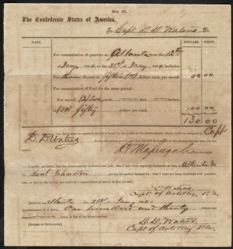 Commutation of Fuel and Quarters Document – Water's Alabama Battery