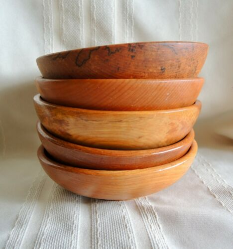 Lot of 5 Wooden Bowls Made In Japan