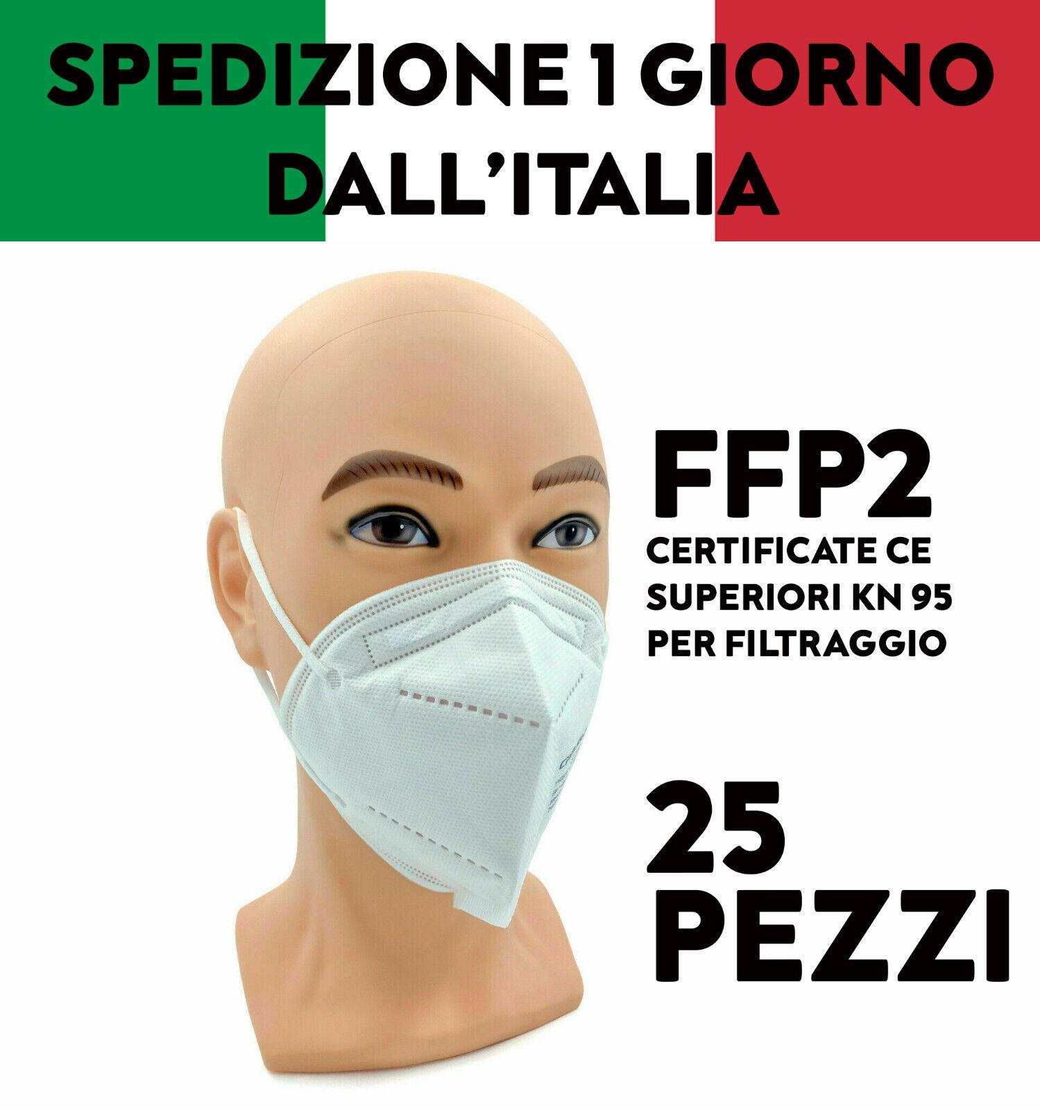 25 MASCHERINE FFP2 PROTETTIVE CERTIFICATE FILTRANTI MONOUSO 5 STRATI MASCHERE