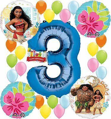 Moana Party Supplies Birthday Decorations Number Balloon Bundle for (3rd Birt...