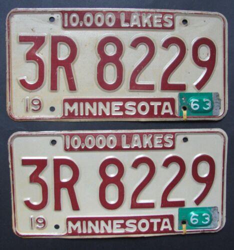1963 Minnesota car license plates ORIGINAL PAIR