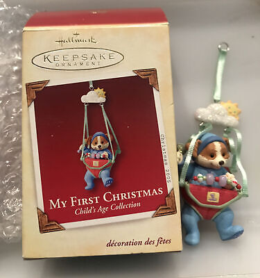 Hallmark 2005-MY FIRST CHRISTMAS-1st Child Boy Puppy Dog Jumper Mint In Box
