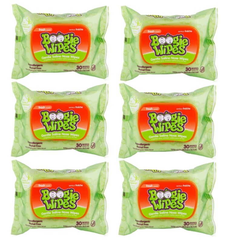 Boogie Wipes Wet Baby and Kids Chamomile & Vitamin E Fresh Scent 30 Ct (6-Pack)