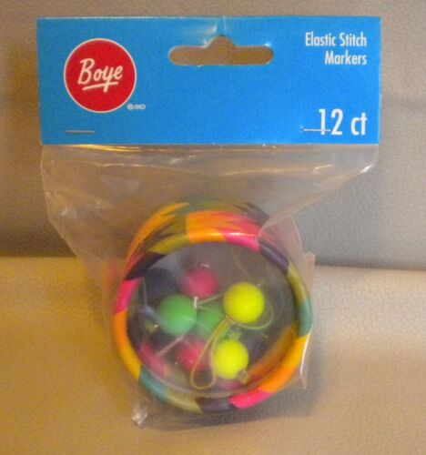 BRAND NEW - BOYE ELASTIC MULTI COLOR STITCH MARKERS 12CT 3402041001 - SHIPS FREE