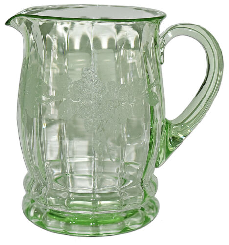 MacBeth Evans Dogwood RARELY FOUND Green Screen Etched Pitcher