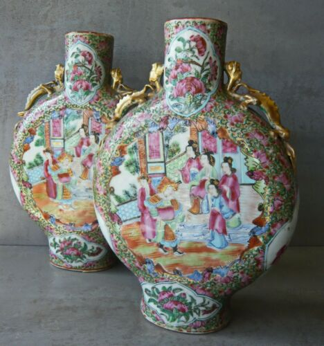 """19th C. CHINESE MATCHED PAIR OF 10.5"""" ROSE MEDALLION PORCELAIN MOON FLASKS"""
