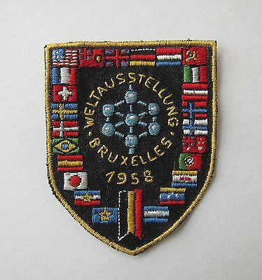 1958 Vintage BRUSSELS WORLDS FAIR Fabric PATCH Embroidered WORLD FLAGS