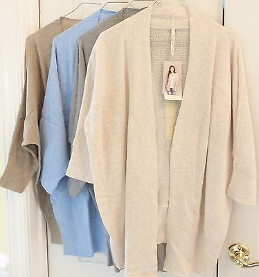 LEO & NICOLE Women's Open Front 3/4 Sleeve Knit Cardigan Relaxed Fit Variety (Open Knit Sweater)