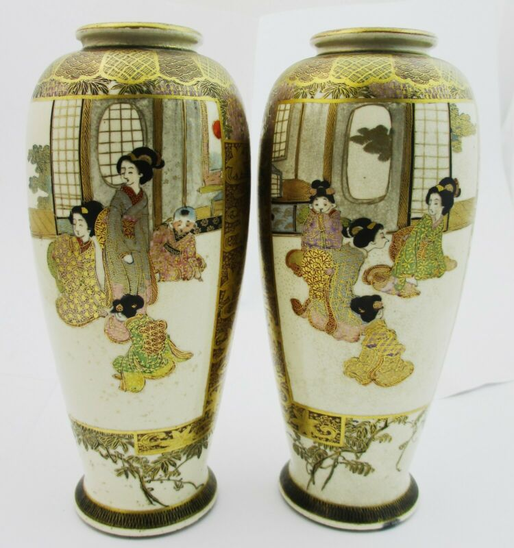 Stunning Pair Of Signed Meiji Period Satsuma Vases. 19cm Tall