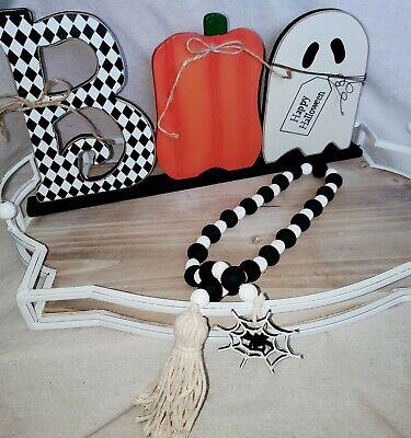 Fall/ Halloween Farmhouse White & black Spider Web wood bead Garland