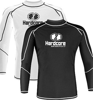 Mens Long Sleeve Rash Guard Surf Swimwear Shirt Hardcore Water Sports SPF 50