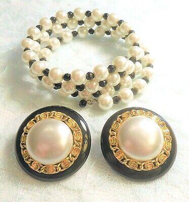 Glass Pearl & Black Crystal Bead Wrap Bracelet & Clip on Earrings