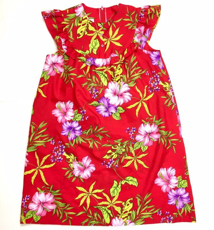 Vtg Hilo Hattie Red Hibiscus Floral Bib Mini Shift Dress Size Large Sleeveless