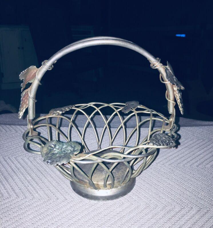 Godinger Silver Art Co Open Grape Vine Silver Basket With Swing Handle GORGEOUS