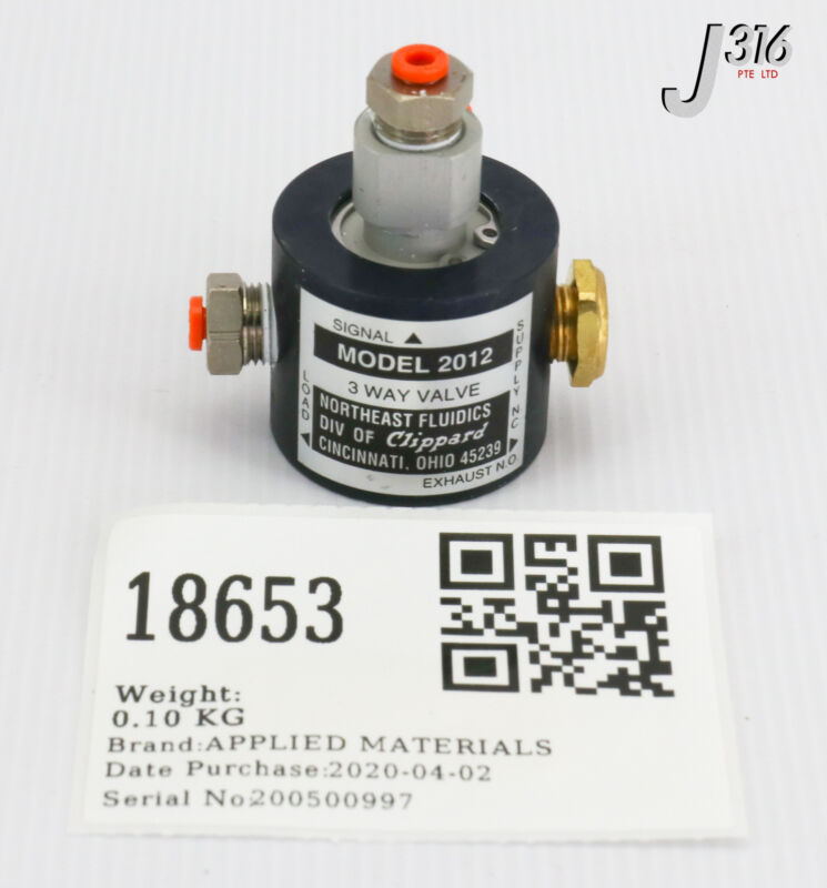 18653 Applied Materials Assy, Lockout Valve, One-touch W/elbow 0010-93075