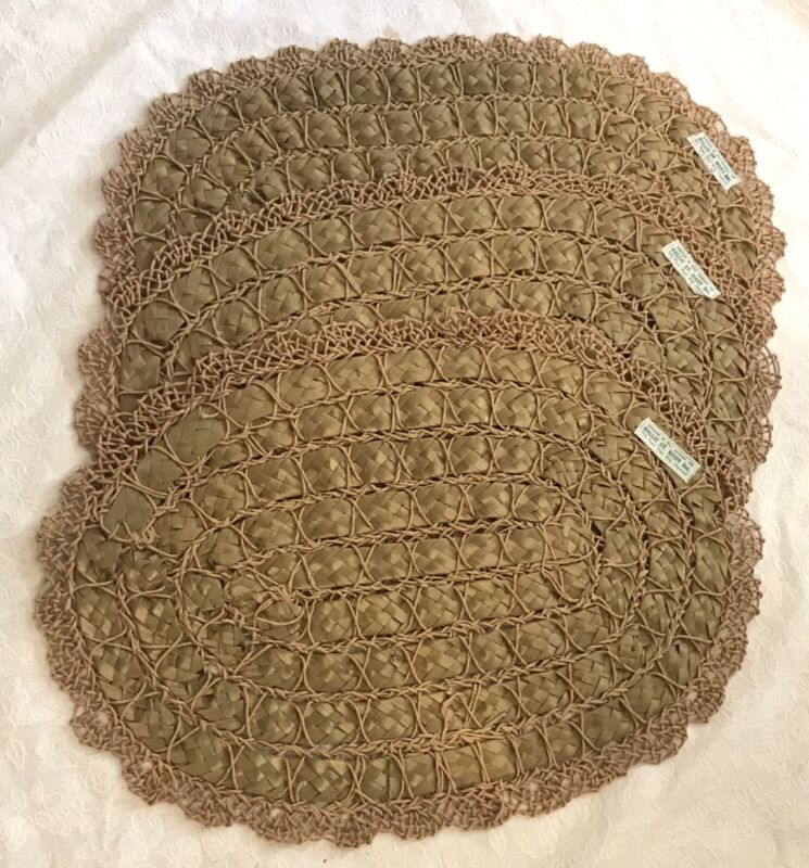 Vtg Set of 3~Handmade Italy Woven Placemats~Hallie St. Mary~Chipwood Paper Rope