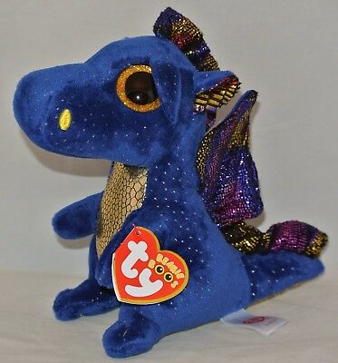 New  Ty Beanie Boos Saffire Blue Dragon 6  Size