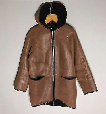 FAITH CONNEXION Leather Shearling Reversible Hooded Coat sz XS+