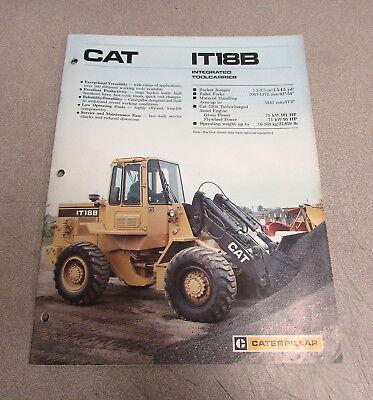 Cat Caterpillar It18b Integrated Toolcarrier Manual Brochure 1987 Aehq2705