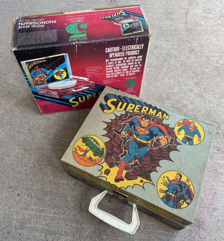 1978 SUPERMAN RECORD PLAYER Solid State Phonograph w/ Original Box