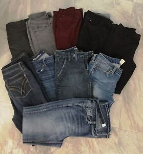 10 Pair Womens Jeans and Casual Pants Size 28W/32L