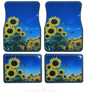 sunflower front and rear floor mats universal rubber floor mats 4 piece set. Black Bedroom Furniture Sets. Home Design Ideas