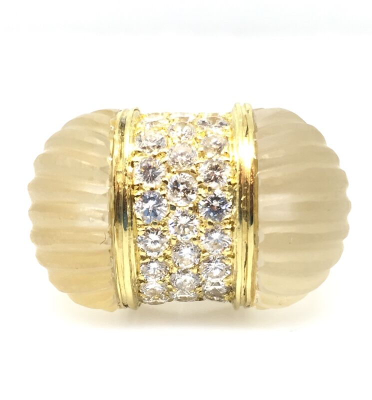 Estate Diamond Pave and Scallop Quartz Dome Ring in 18k 2.30 carats - HM1406