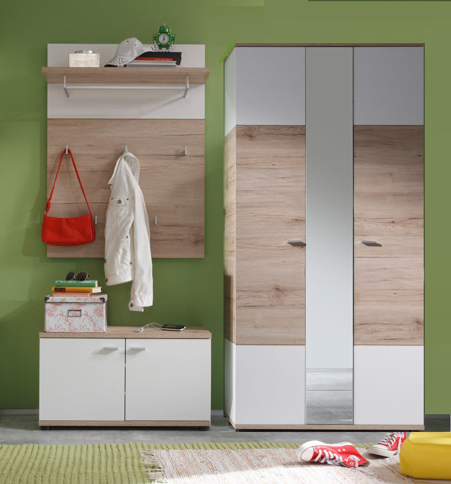 garderoben set flurgarderobe 3 tlg wei und eiche mit paneel bank schrank campus eur 354 99. Black Bedroom Furniture Sets. Home Design Ideas