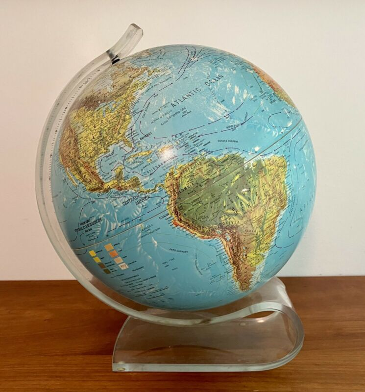 Mid Century Modern Lucite Stand 36 Inch Replogle World Horizon Globe 1950's