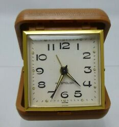 Vintage Westclox Travel Alarm Clock with Brown Folding Hard Case