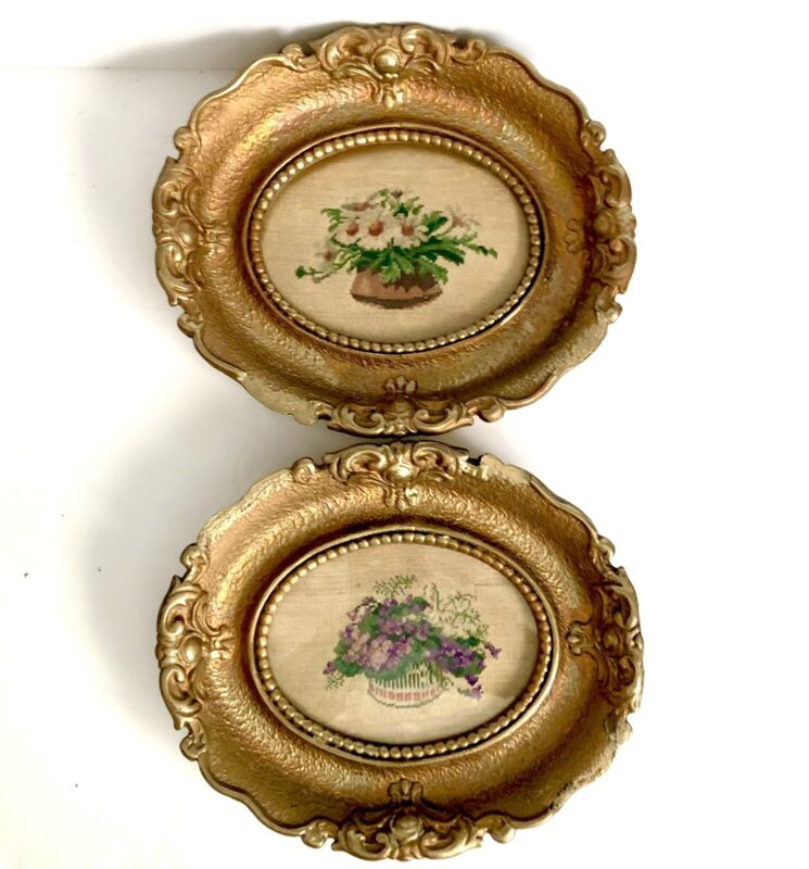 Needlepoint Petit Point Embroidered Picture Floral Ornate Gold Frame Vtg Pair