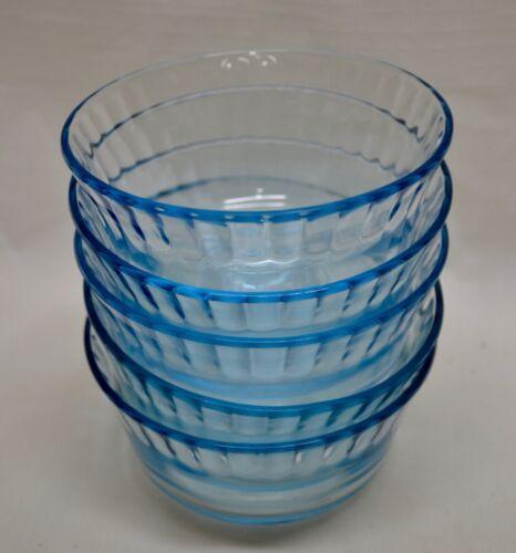 5 COLOREX BRAZIL Light Blue Glass Custard Cups  EXCELLENT Dessert Bowls