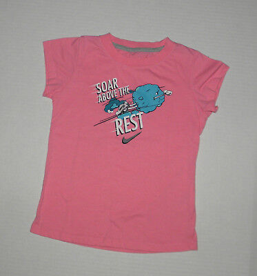 NIKE SOAR ABOVE THE REST PINK TEE TOP TRAINING RUNNING SPORTS GIRLS 6X