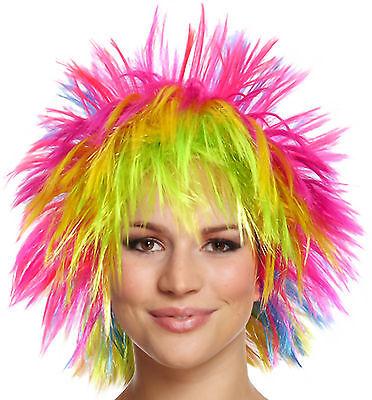 80 ' S Perücke (Fun Rocker Perücke Regenbogen Neon 70`s 80`s Mottoparty Fasching Damen Rainbow)