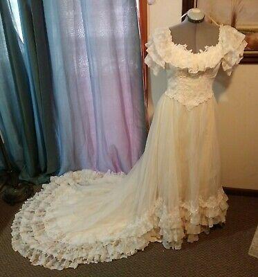 Antique Estate Victorian Lace Overlay Cream Satin Ball Skirt