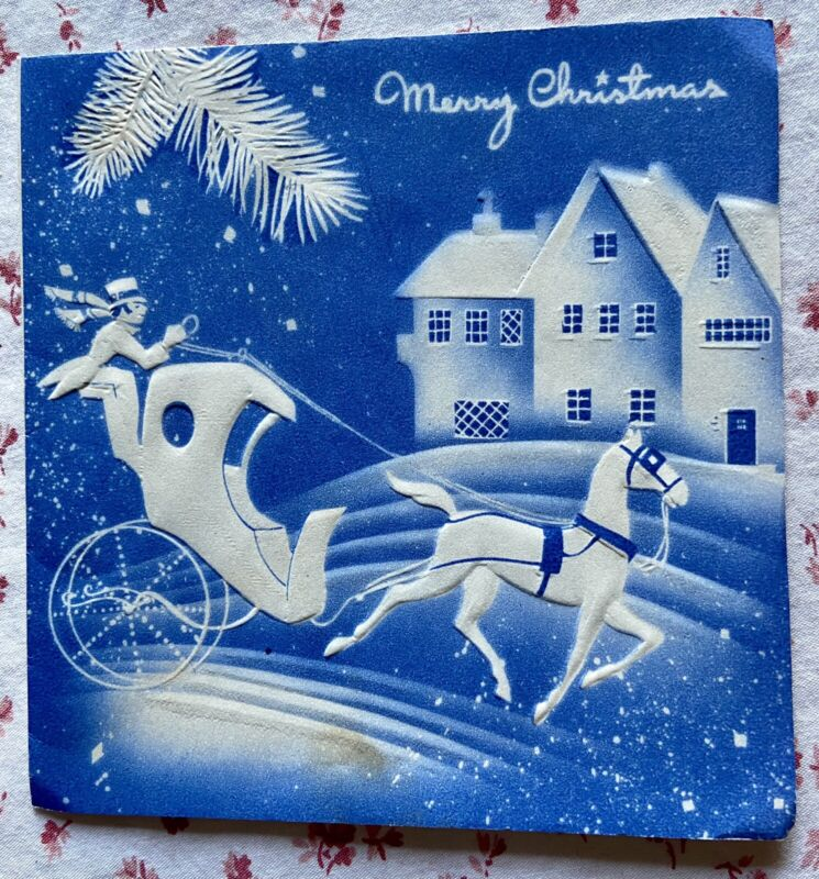 Vintage 1940s Blue Embossed Christmas Stagecoach Horse Village Greeting Card
